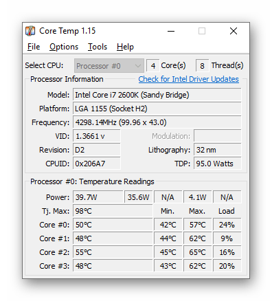 Проверка температур компьютера через программу Core Temp