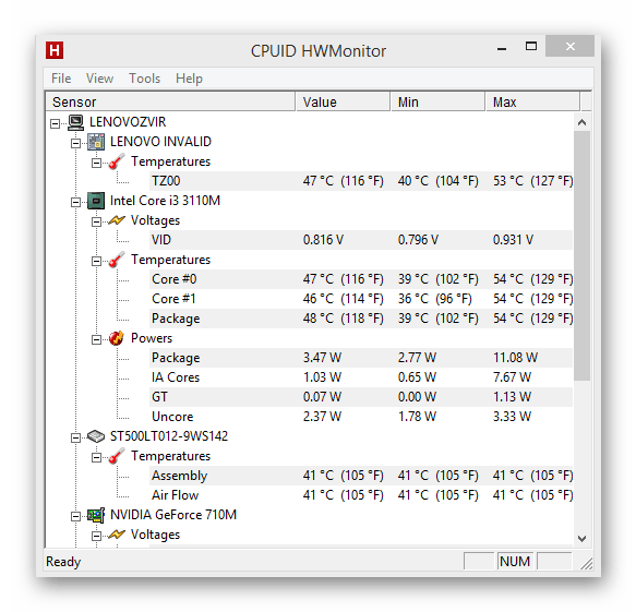 Проверка температур компьютера через программу HWMonitor
