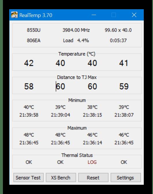 Проверка температур компьютера через программу RealTemp