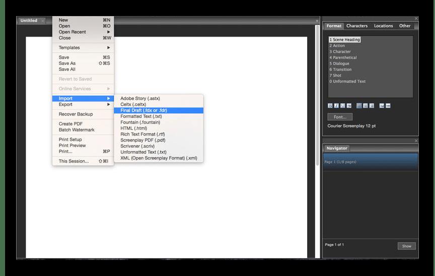 Работа с основными инструментами программы Fade In при создании сценариев