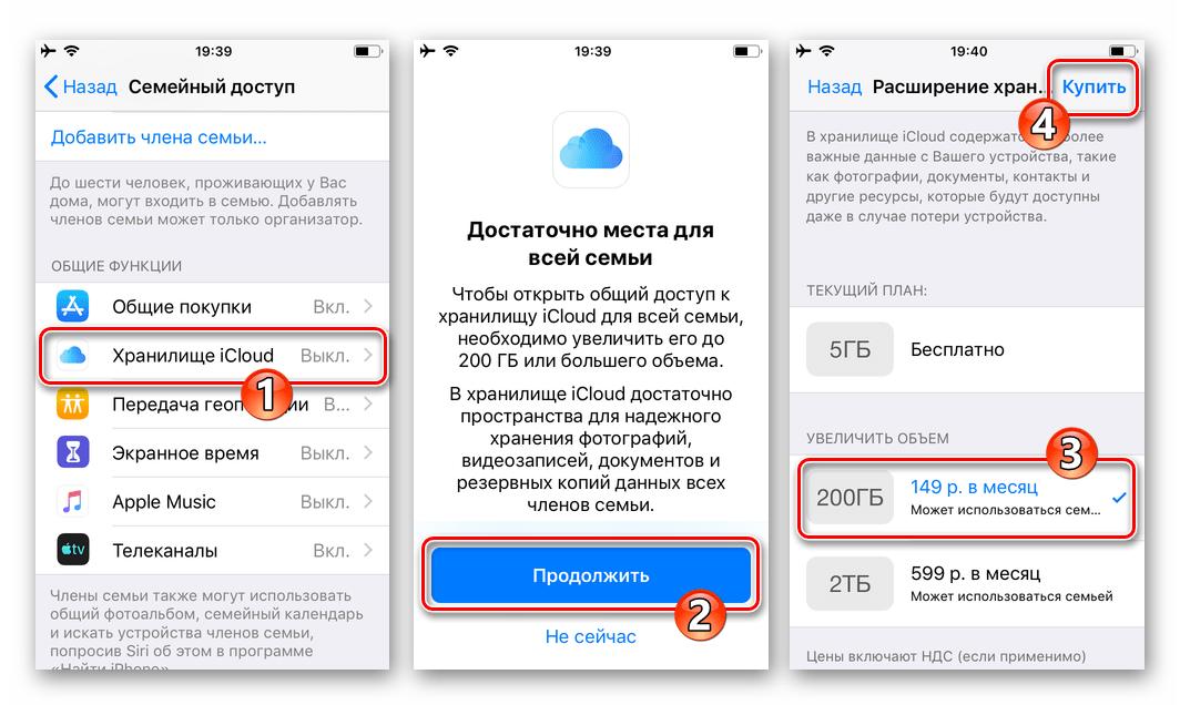 Семейный доступ Apple активация общего доступа к хранилищу iCloud