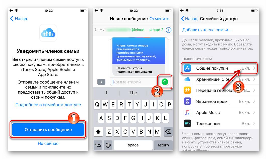 Семейный доступ Apple отправка уведомления участникам о включении функции Общие покупки