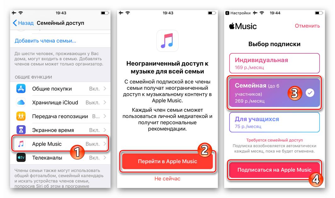 Семейный доступа на iPhone предоставление доступа членам семьи к Apple Music, оформление семейной подписки