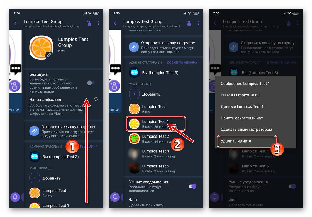Viber для Android удаление участника из группового чата через меню Информация