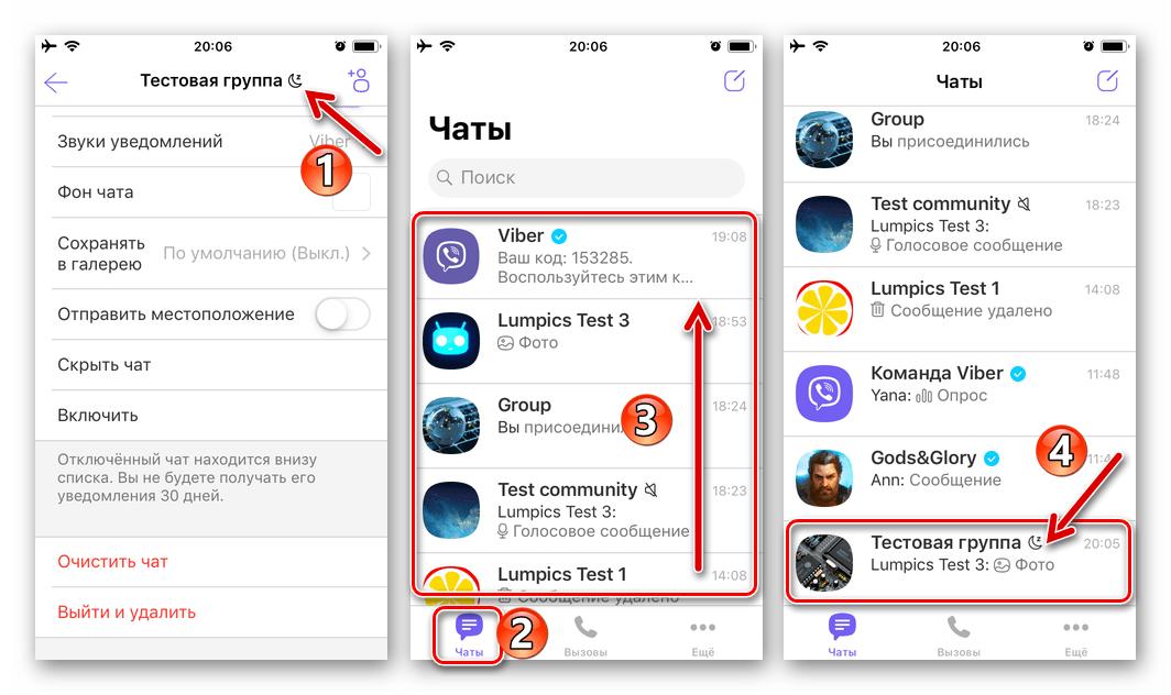 Viber для iOS доступ к группе или сообществу в деактивированными уведомлениями