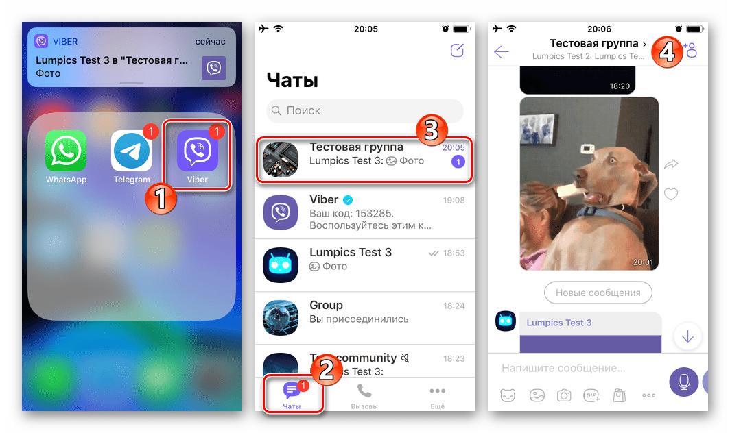 Viber для iOS запуск мессенджера переход в группу или сообщество