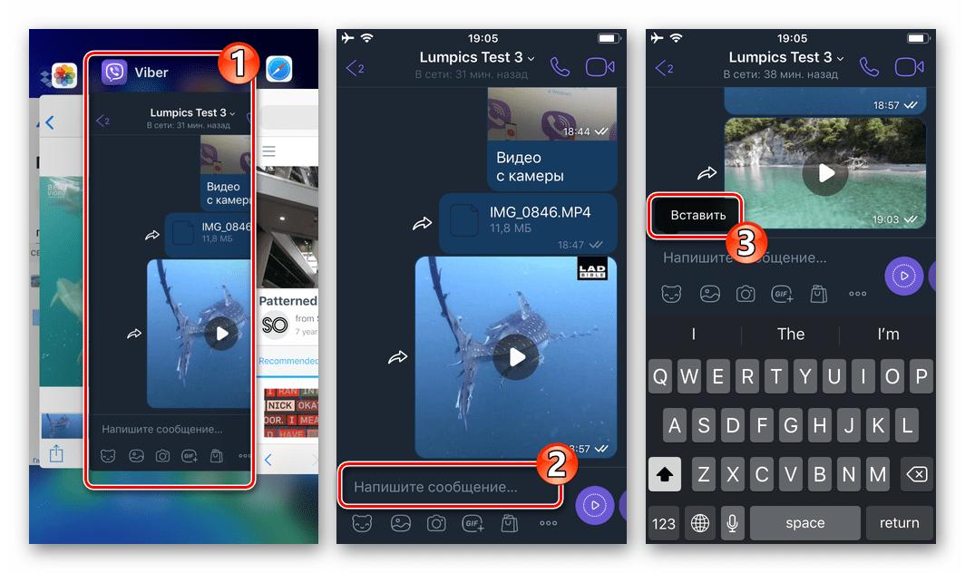 Viber для iPhone копирование вставка ссылки на веб-страницу с видео в сообщение