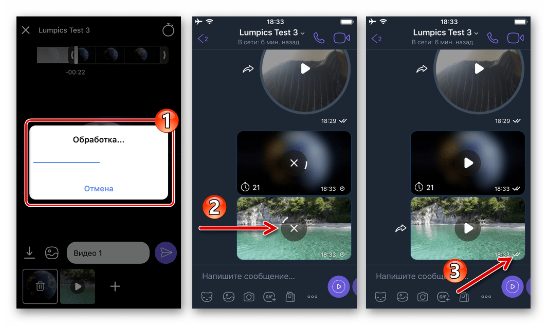 Viber для iPhone - процесс доставки видеозаписи из Галереи через мессенджер