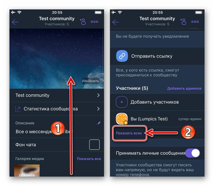 Viber для iPhone пункт Показать всех в разделе Участники параметров сообщества