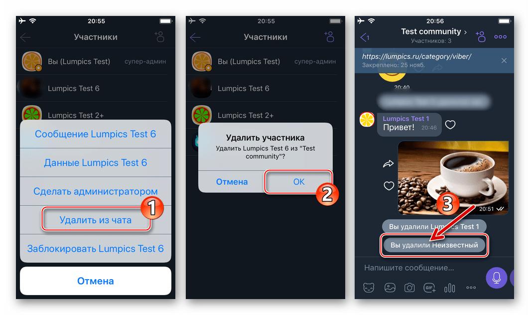 Viber для iPhone удаление участника из сообщества завершено