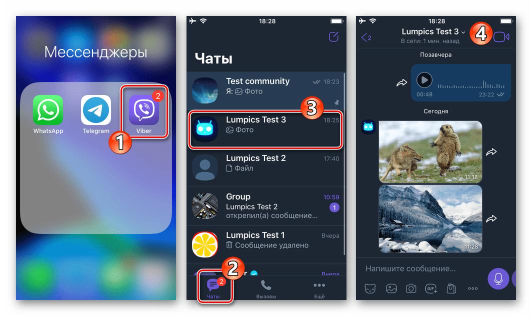Viber для iPhone - запуск мессенджера, переход в чат
