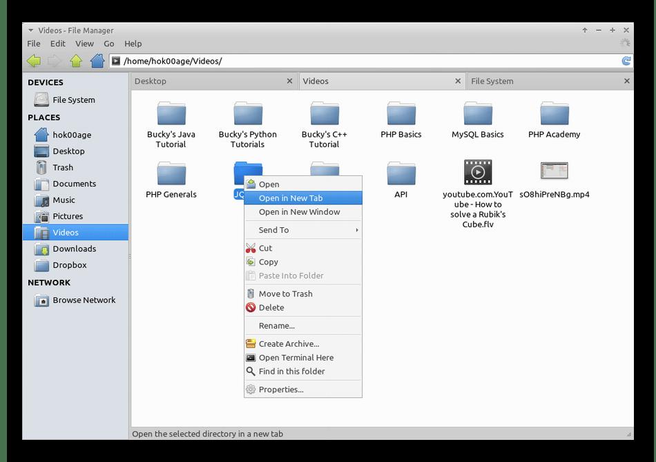 Внешний вид файлового менеджера Thunar для дистрибутивов Linux