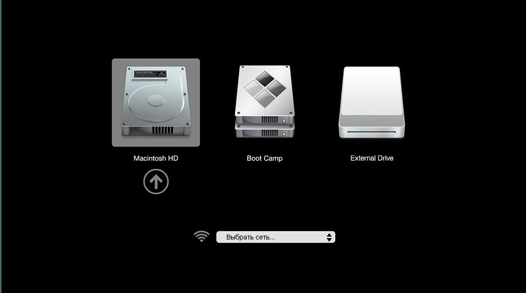 Выбрать накопитель в менеджере для загрузки macOS с флешки