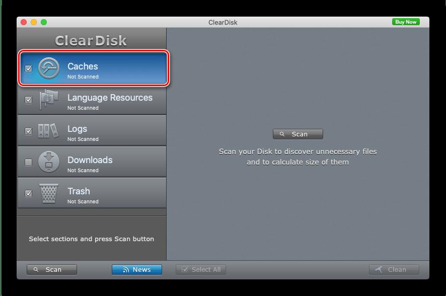 Выбрать нужный каталог для очистки кэша macOS посредством ClearDisk