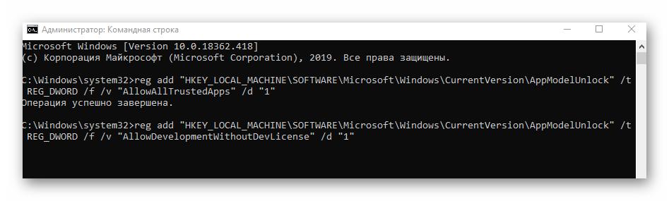Выполнение второй команды в Windows 10 для включения режима разработчика