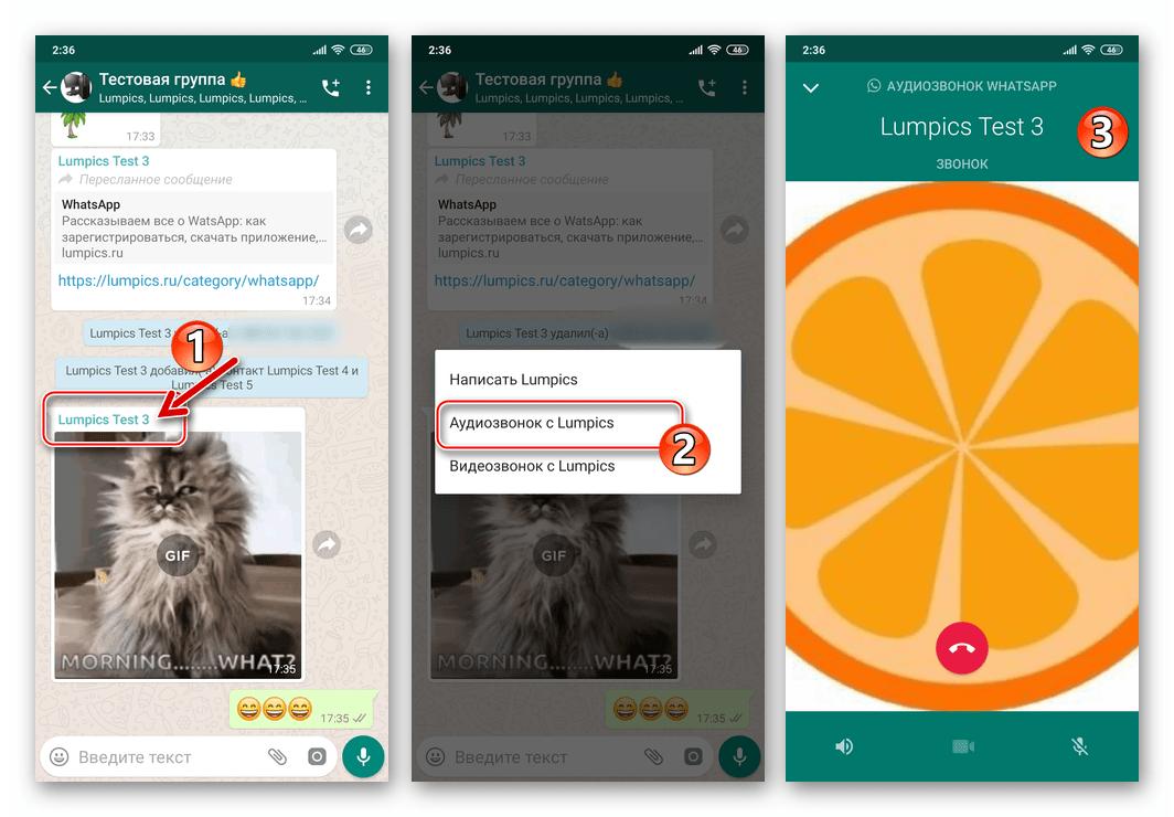 WhatsApp для Android аудиозвонок написавшему в групповой чат сообщение пользователю