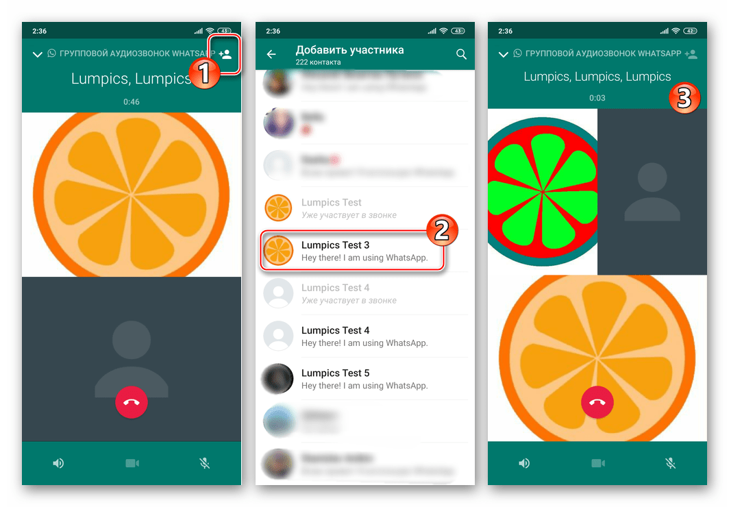 WhatsApp для Android добавление пользователя в групповой аудиозвонок