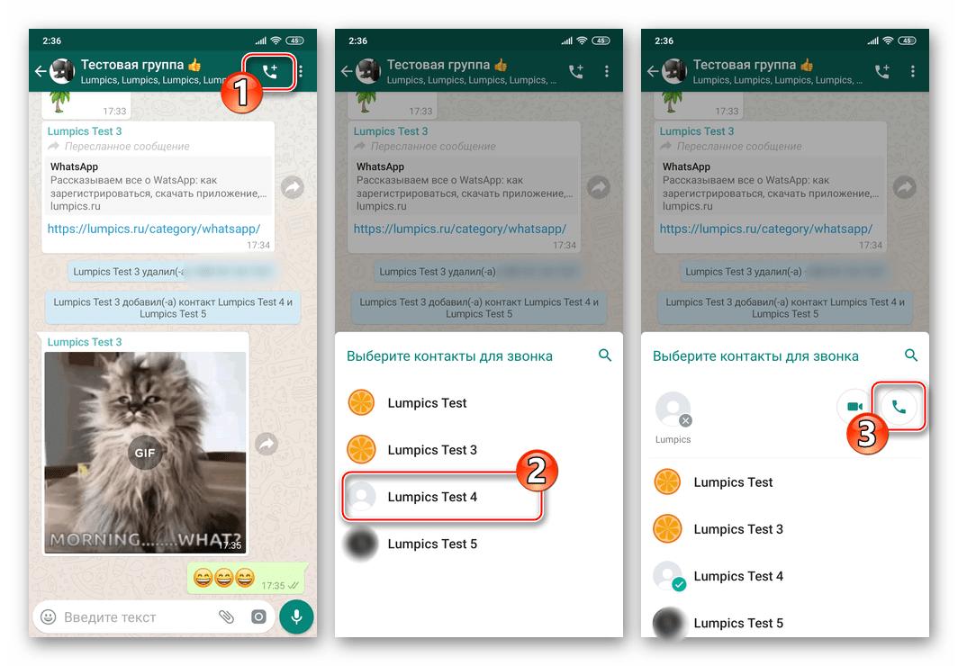 WhatsApp для Android голосовой вызов любого участника группового чата в мессенджере