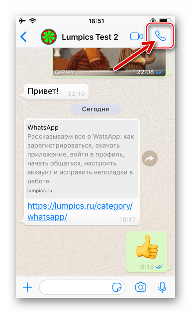 WhatsApp для iPhone голосовой вызов абонента с экрана чата с ним в мессенджере