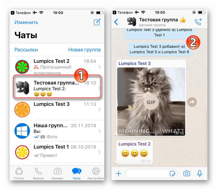 WhatsApp для iPhone переход в групповой чат в мессенджере