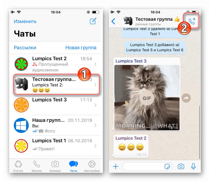 WhatsApp для iPhone переход в групповой чат, вызов функции Звонок