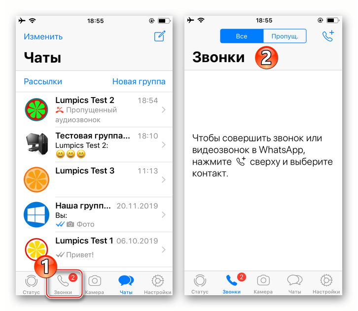 WhatsApp для iPhone переход в раздел Звонки в мессенджере