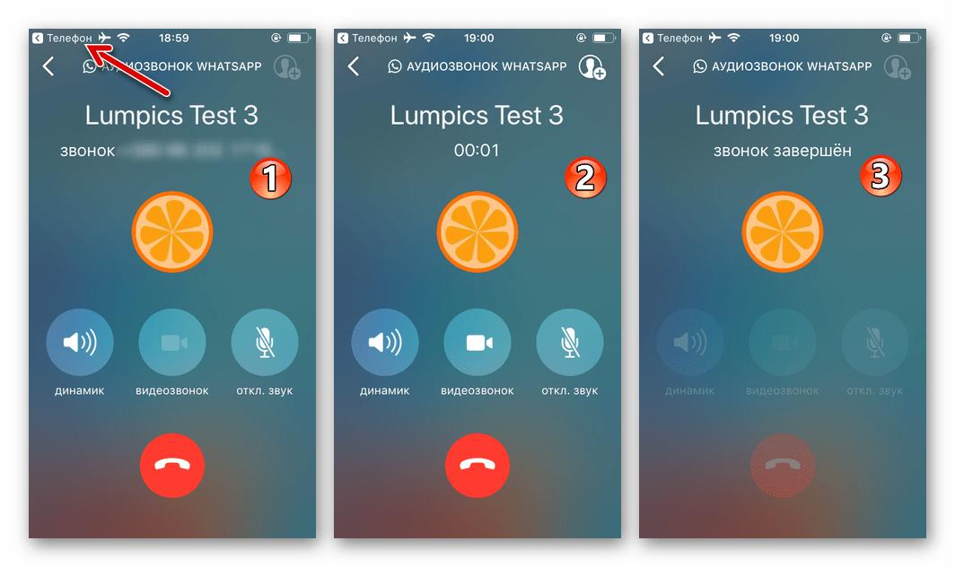 WhatsApp для iPhone процесс аудиозвонка через мессенджере, инициированного из Контактов iOS