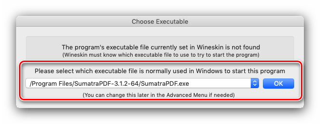 Задать EXE-файл приложения Wineskin для использования в macOS