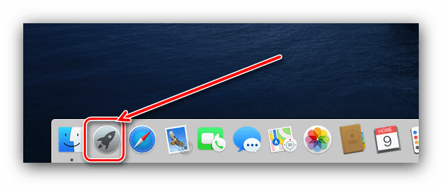 Запуск Launchpad для доступа к Терминалу для проверки MAC-адреса на macOS