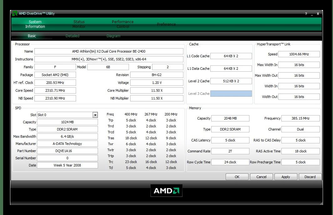 Интерфейс программы AMD OverDrive