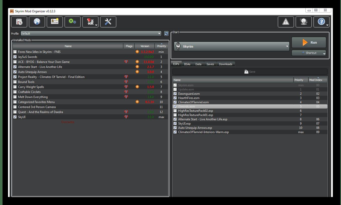 Интерфейс программы для установки модов Mod Organizer