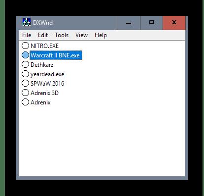 Интерфейс программы DXWnd