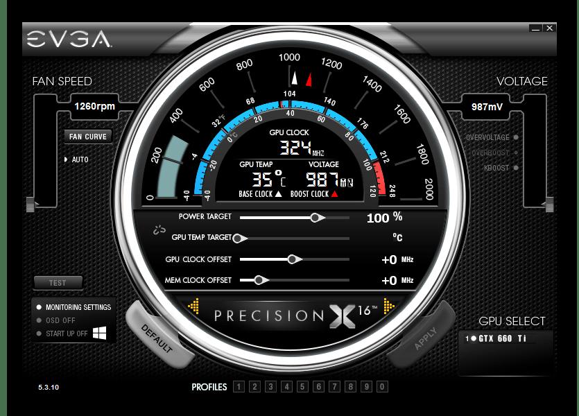 Интерфейс программы EVGA Precision X