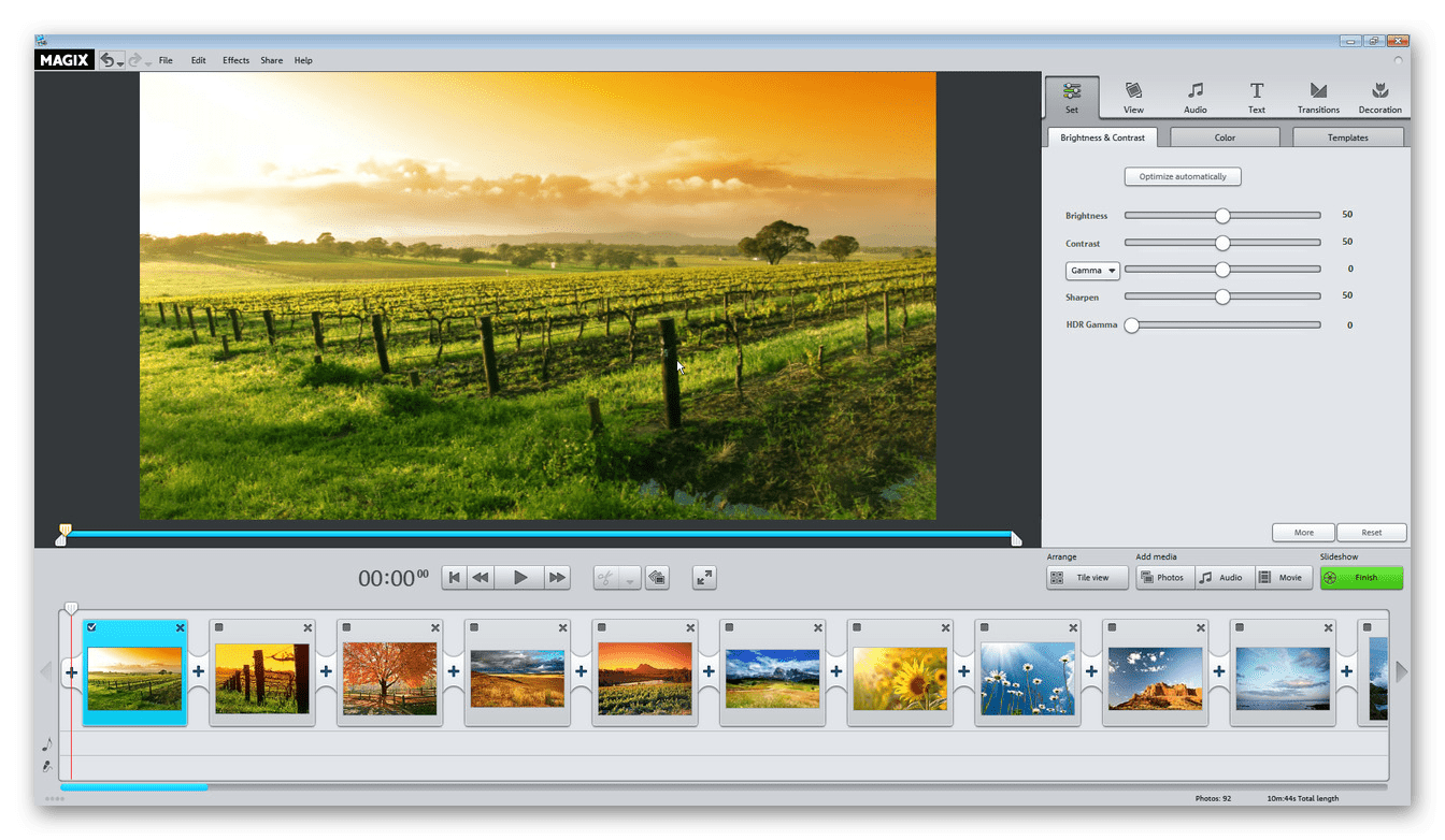 Интерфейс программы Magix Photostory