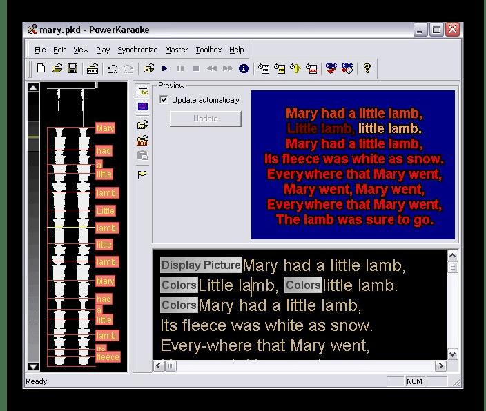 Интерфейс программы PowerKaraoke