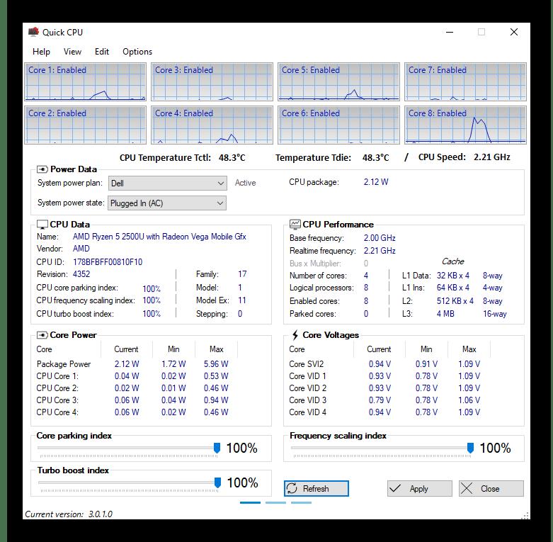 Интерфейс программы Quick CPU