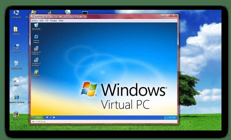 Интерфейс программы Windows Virtual PC