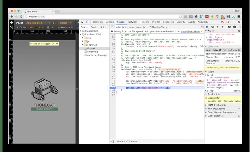 Использование PhoneGap для написания кода