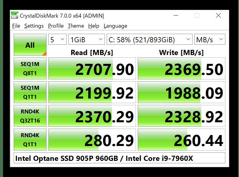 Использование программы CrystalDiskMark для проверки скорости SSD