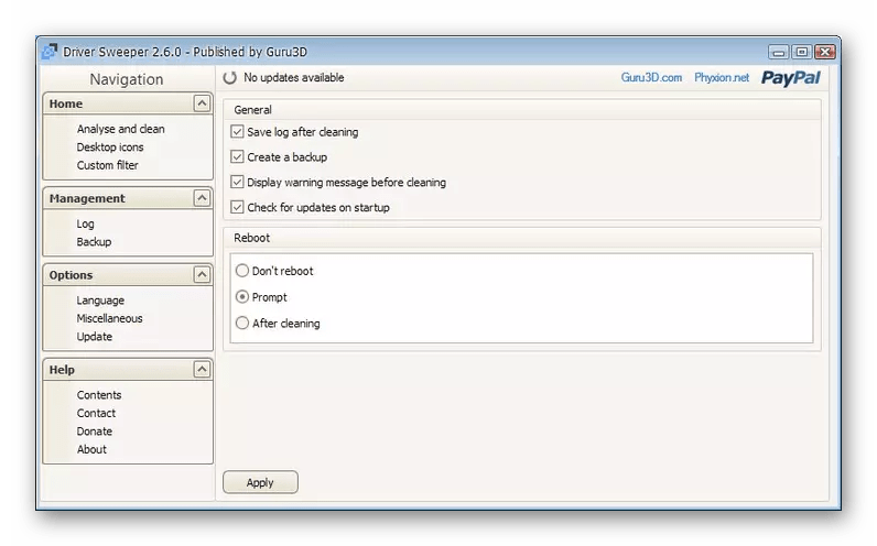 Использование программы Driver Sweeper для удаления драйверов NVIDIA