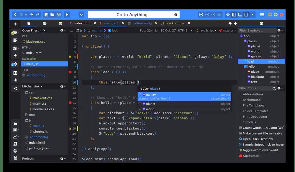 Использование среды разработки Komodo для написания кода