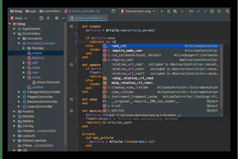 Использование среды разработки RubyMine для написания кода