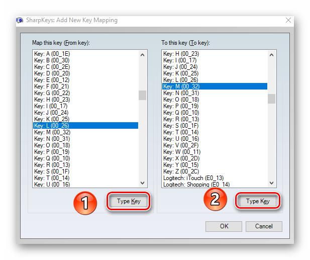 Использования кнопок Type Key для переназначения клавиш в Windows 10