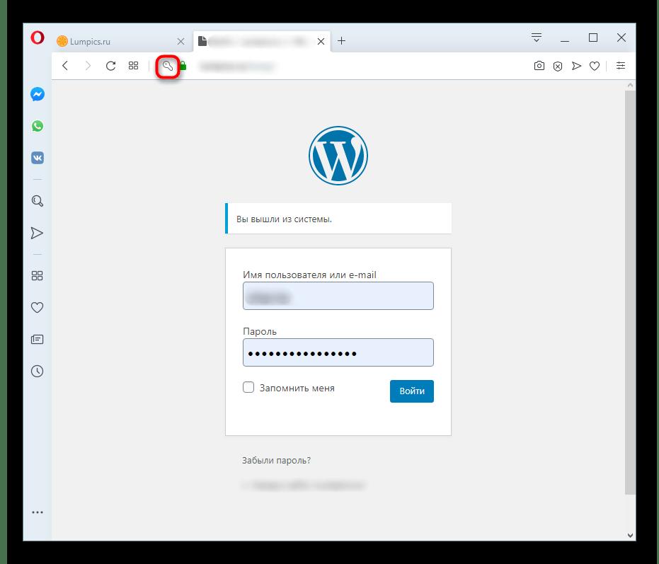 Кнопка сохраненного пароля в адресной строке открытого сайта в Opera