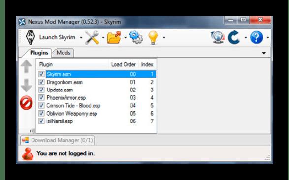 Меню программы для установки модов Skyrim Nexus Mod Manager