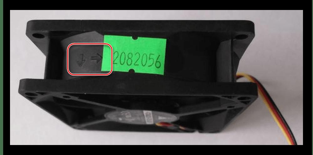 Направление движения воздуха и вращения лопастей вентилятора