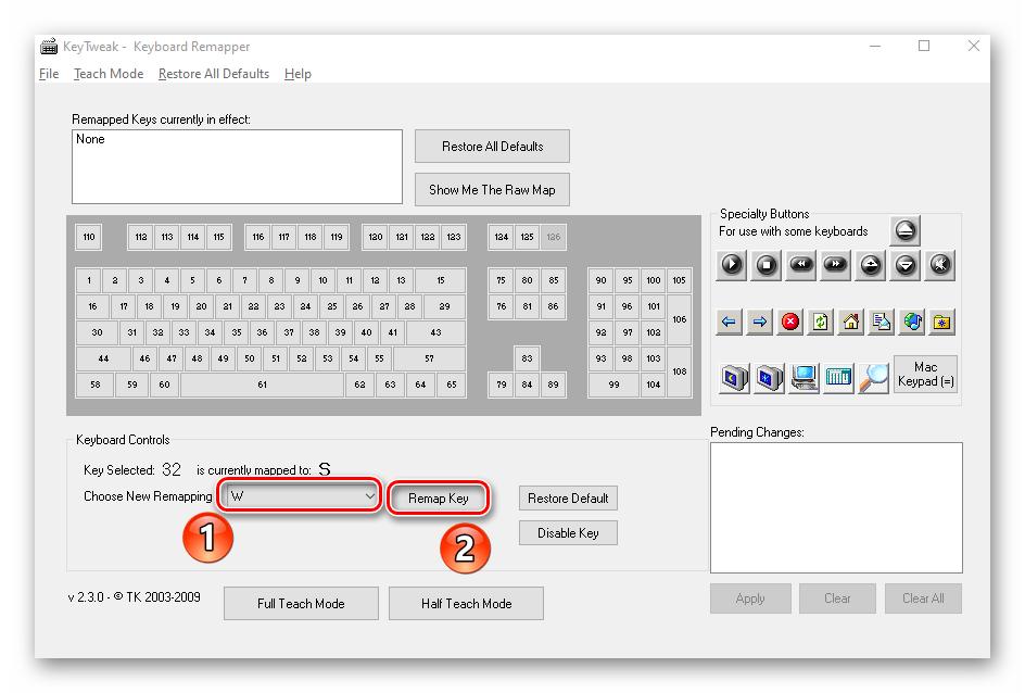 Нажатие клавиши Remap Key в программе KeyTweak на Windows 10
