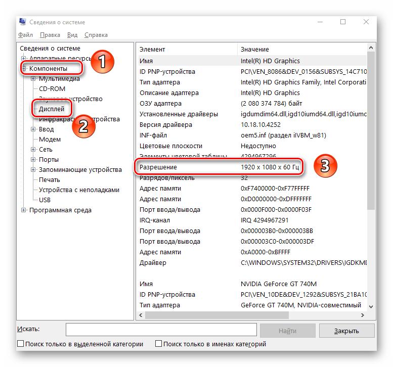 Отображение текущего разрешения экрана в утилите Сведения о системе Windows 10
