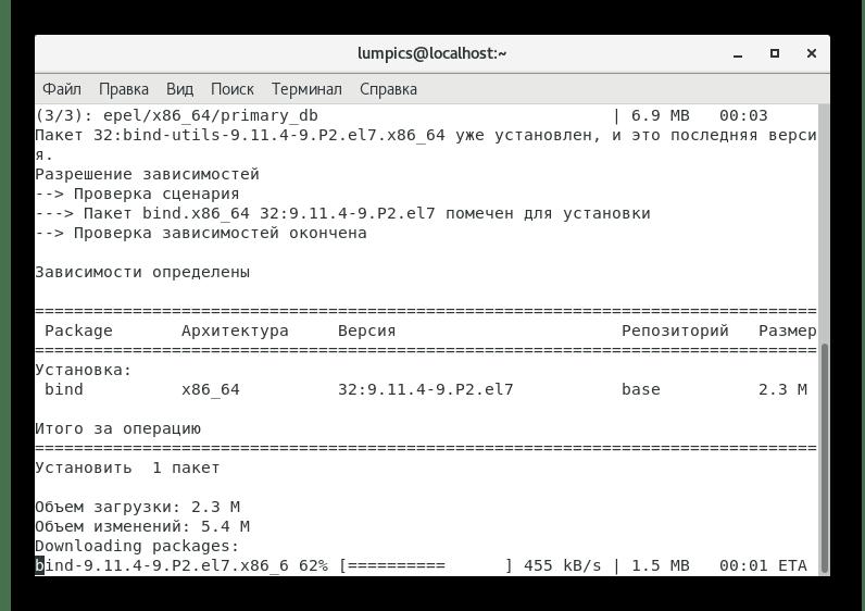Ожидание завершения установки основного DNS в CentOS