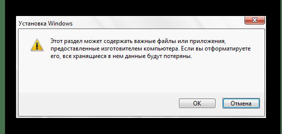 Подтверждение форматирования раздела С во время инсталляции Windows 10